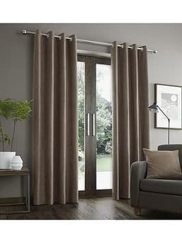 Faux Suede Curtains W/ Lining Mink